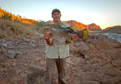 Steve with his 90cm Barra at Lake Argyle, Kimberley, WA