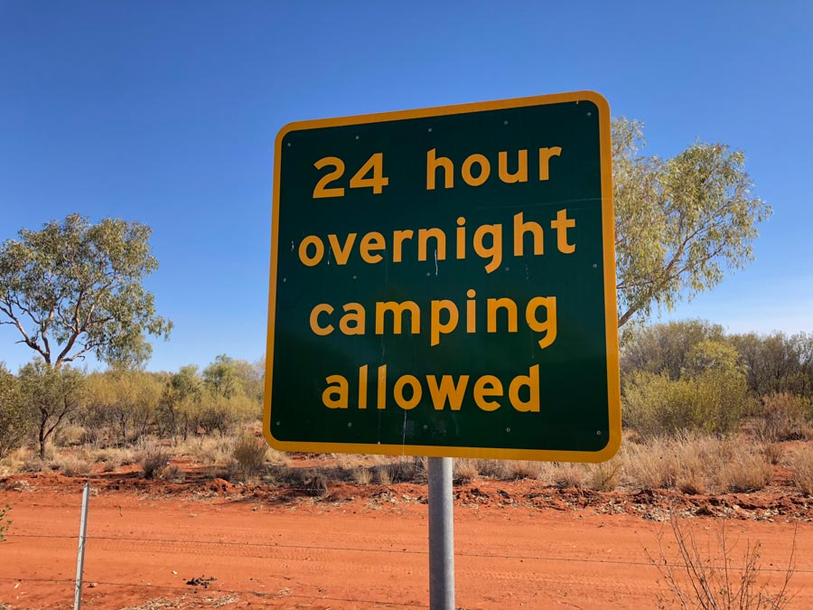 24 hour overnight camping at roadside stops